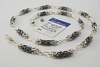 Оригинальная цепочка из серебра 925 с чернеными вставками