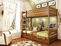 Кровать Дуэт из бука фабрика Эстелла  Бук Щит, 80х190, 103 Орех Светлый