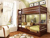 Кровать Дуэт из бука фабрика Эстелла  Бук Щит, 80х190, 104 Красное Дерево