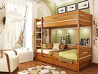 Кровать Дуэт из бука фабрика Эстелла  Бук Щит, 80х190, 105 Ольха