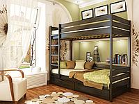 Кровать Дуэт из бука фабрика Эстелла  Бук Щит, 80х190, 106 Венге