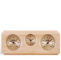 Термо-гигрометр+часы прямоугольные Sawo 260
