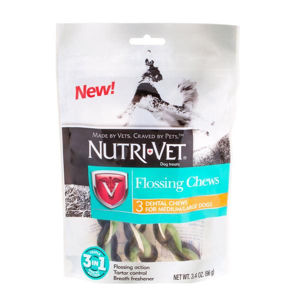 Nutri-Vet Flossing Chews 3in1 НУТРИ-ВЕТ ФЛОСС жевательное лакомство с зубной нитью для средних и крупных собак