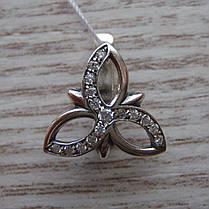 Серебряные серьги Цветы с фианитами, фото 2