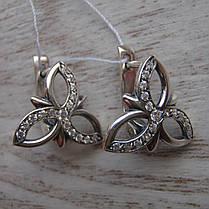 Серебряные серьги Цветы с фианитами, фото 3