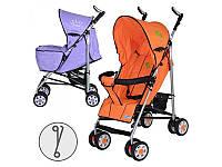 Коляска детская ARIA S1-7  прогулочная, 2 цвета (сиренев,оранжевая), колеса 8шт, чехол на ножки