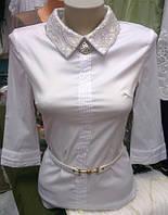Блузка стильная  ажурный воротничек!