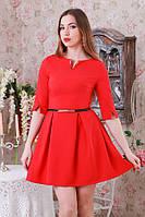 Платье мини в складку трикотаж красное р.48  Y206.4