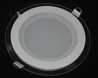 Круглый врезной светильник 12 Вт Downlight теплый белый круг (3200К) Glass Rim, фото 1