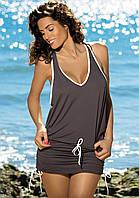 Туника-платье на пляж коричневый, S