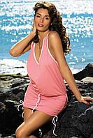 Туника-платье на пляж розовый, S