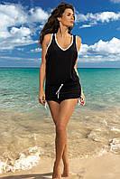Туника-платье на пляж черный, S