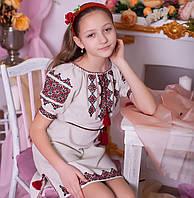 Вишите плаття підросткове  (ручна робота, сірий льон), фото 1