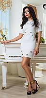 Элегантное Белое Платье с Декором XS-2XL