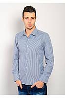 Классическая мужская рубашка простого кроя в таких расцветках:синяя полоска, темно-серая полоска, черная клетка, черная полоска, черно-бордовая клетка