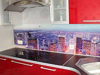Стеклянная рабочая поверхность для кухни Ночной город.Доступные цены