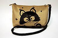 Женская сумочка клатч Кот и бабочки
