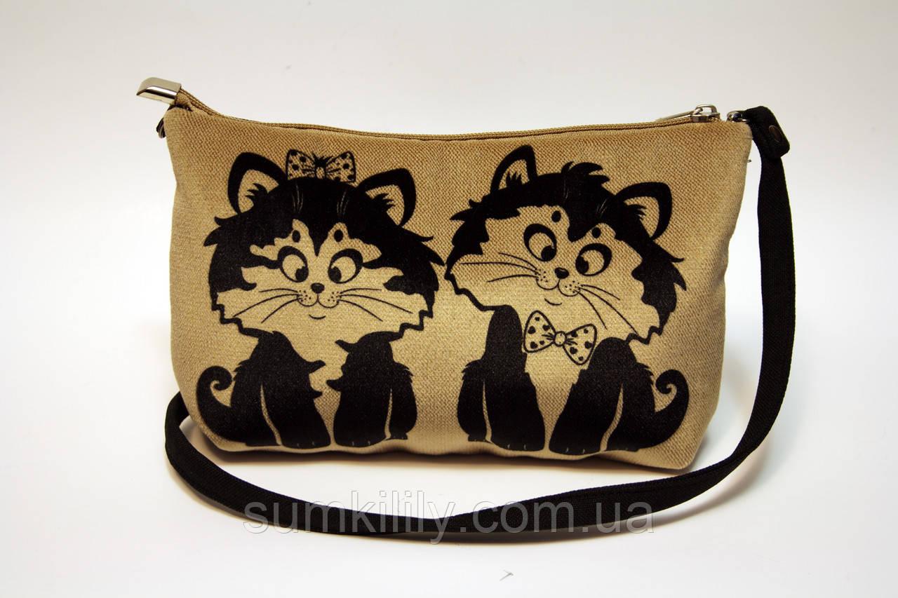 Женская сумочка клатч котейки няшки