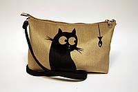 Женская сумочка клатч Кот и рыбка