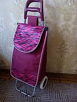 Хозяйственная сумка-тележка с атласной сумкой ( на металлическом каркасе и металлическим креплением), фото 1