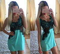 Красивый женский пеньюар шелк и кружево бирюзовый цвет