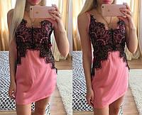 Красивый женский пеньюар шелк и кружево розовый цвет