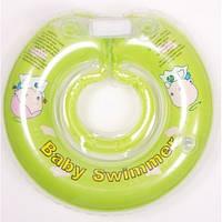 Круг для купания младенцев ТМ Baby swimmer 6-36кг салатовый с погремушками