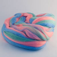 Гребенная лента Троицкая 6024 меланж голубо-розовый 100г