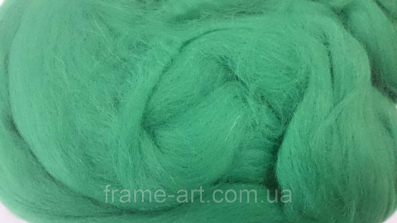 Шерсть для валяния Сумы 50г 220 изумрудно-зеленый 22мк