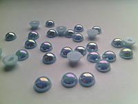 Полубусины жемчуг 8 мм голубые бензин
