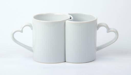 Чашка керамическая белая парная под сублимационную печать LOVE