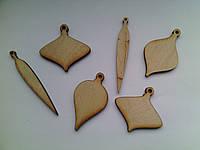 Деревянная заготовка 6 маленькие елочные игрушки