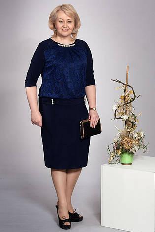 Платье нарядное батальное синие, фото 2