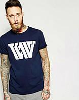 Модная мужская футболка синяя W