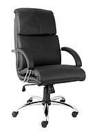Кожаное кресло руководителя Nadir steel chrome ECO-30 черный