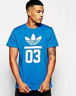 Модная мужская футболка синяя Adidas 03
