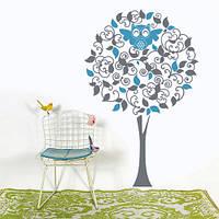 Интерьерная виниловая наклейка Дерево с совой (наклейки на стену в детскую комнату, самоклеющаяся пленка сова)
