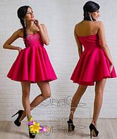 Коктейльное платье с узким лифом с камнями и пышной юбкой (НАТ) 316