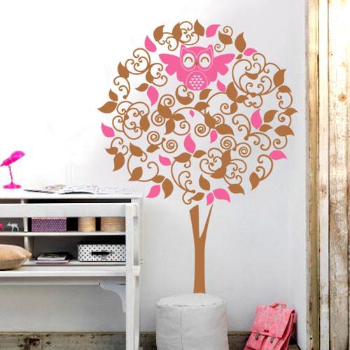 Интерьерная наклейка на обои Дерево с совой (самоклеющаяся пленка дерево детская наклейка оракал сова) матовая