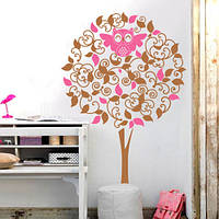 Интерьерная наклейка на обои Дерево с совой (самоклеющаяся пленка дерево детская наклейка оракал сова) матовая, фото 1
