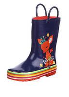 Резиновая обувь, цвет синий с рисунком оленя, подошва полосатая 26,29 рзм. (Д)