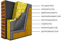 Внешнее утепление фасада минеральной ватой 100 мм.