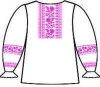 Сорочка для девочек р.38 (длин.рукав) белая, под вышивку, 160-12-09 схема 24/23