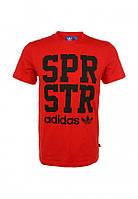 Модная мужская футболка красная Adidas SPRSTR