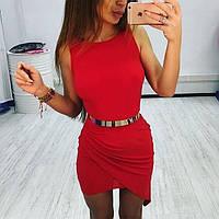 Молодежное платье двойная юбка на сборке красное