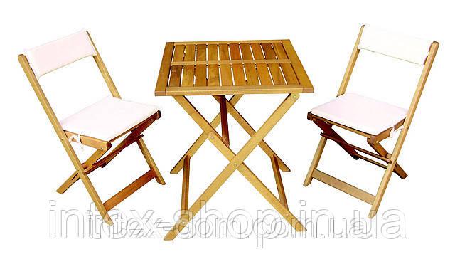 Складная мебель: стол + 2 стула, подушки (КЛАТА)