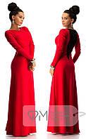 Красивое платье в пол с дорогим набивным гипюром красное