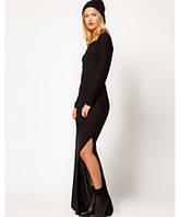 Классическое платье в пол с разрезом