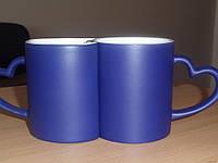 Чашка - хамелеон керамическая синяя парная под сублимационную печать LOVE