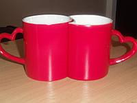 Чашка - хамелеон керамическая красная парная под сублимационную печать LOVE